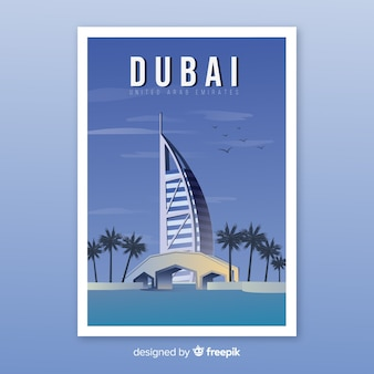 Retro promotional poster of dubai template