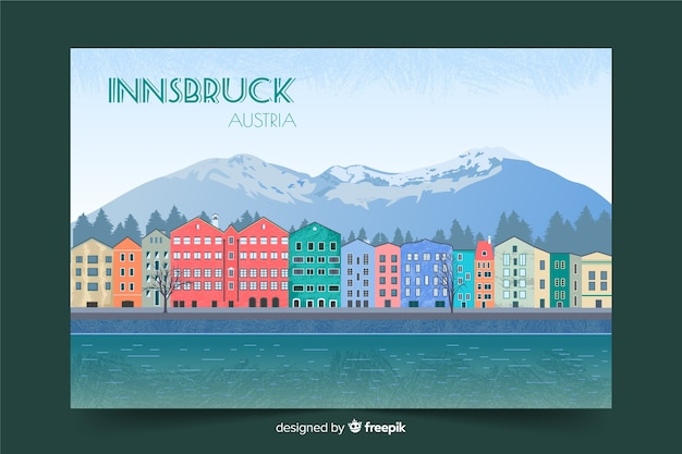 Retro promotional poster of innsbruck template
