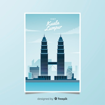 Retro promotional poster of kuala lumpur