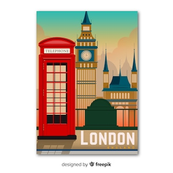 Retro promotional poster of london template