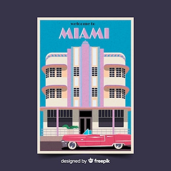 Retro promotional poster of miami template
