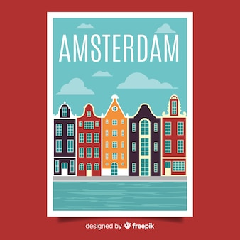 암스테르담의 레트로 홍보 포스터