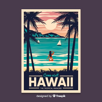 Ретро рекламный плакат шаблона гавайи