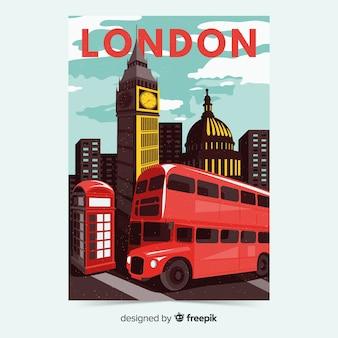 런던 템플릿의 레트로 홍보 포스터
