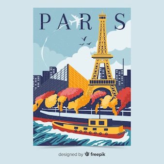 Retro promotional poster of paris template