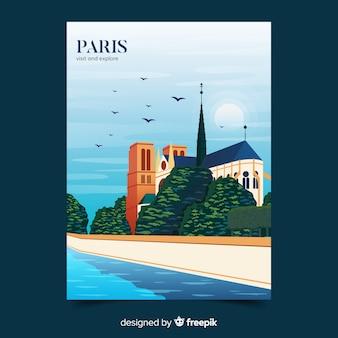 Retro promotional poster of paris template