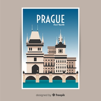 Retro promotional poster of prague template