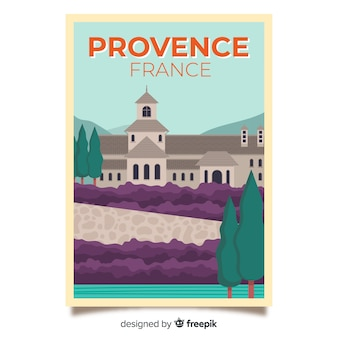 Retro promotional poster of provence