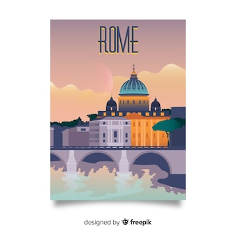 Retro promotional poster of rome template