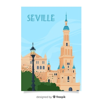 Retro promotional poster of seville