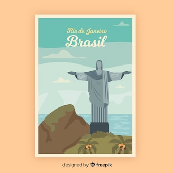Retro promotional poster template of brasil