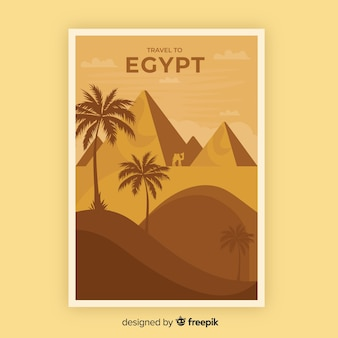 Retro promotional poster template of egypt