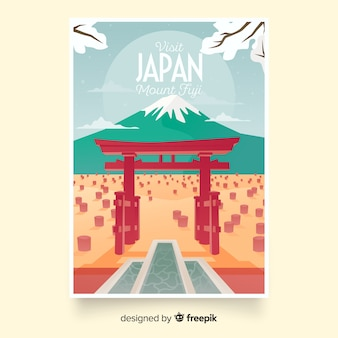 Retro promotional poster template of japan