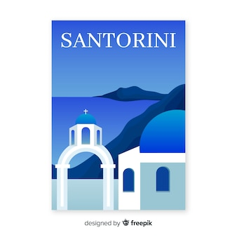 Retro promotional poster template of santorini