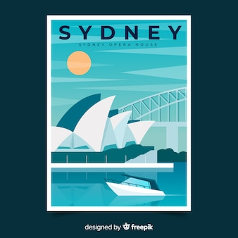 Retro promotional poster template of sydney