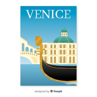 Retro promotional poster template of venice