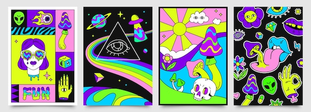 Retro psychedelic hippie posters with space, mushrooms and rainbows. 70s abstract covers with skull, floating eyes, crazy lips vector set. bright ufo spacecraft and alien flying in universe