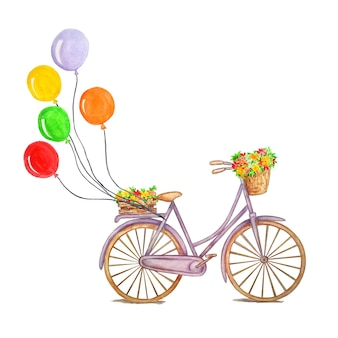 Retro purple bicycle with colorful air balloons, a wooden box with flowers, weaving, a basket with flowers and leaves. concept on isolated background, watercolor drawing.