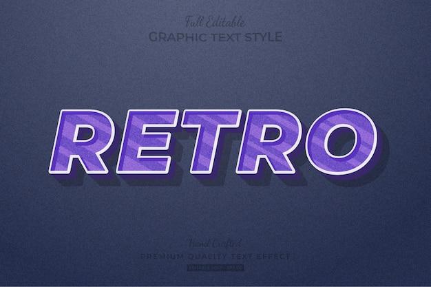 Retro purple editable text effect font style