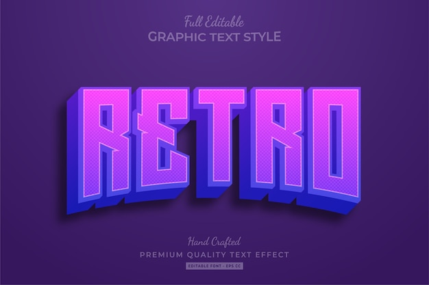 Retro purple editable text effect