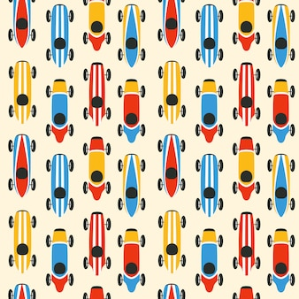 Retro race car seamless pattern design