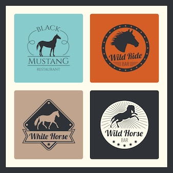 Retro racing horse, running mare logo set