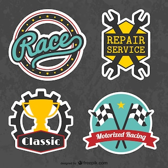 Retro racing stickers
