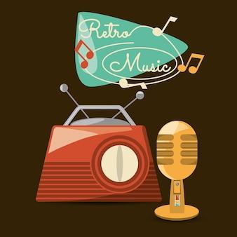 Ретро радио и микрофон для прослушивания и подписи музыки