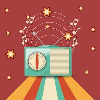 Ретро-радио и звезды вокруг красного и полосатого фона