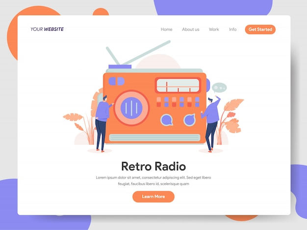 Retro radio banner of landing page