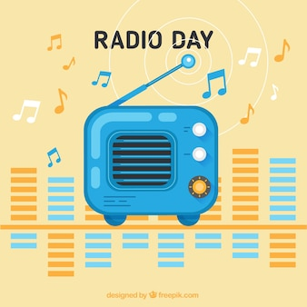 Retro radio day background in cute style