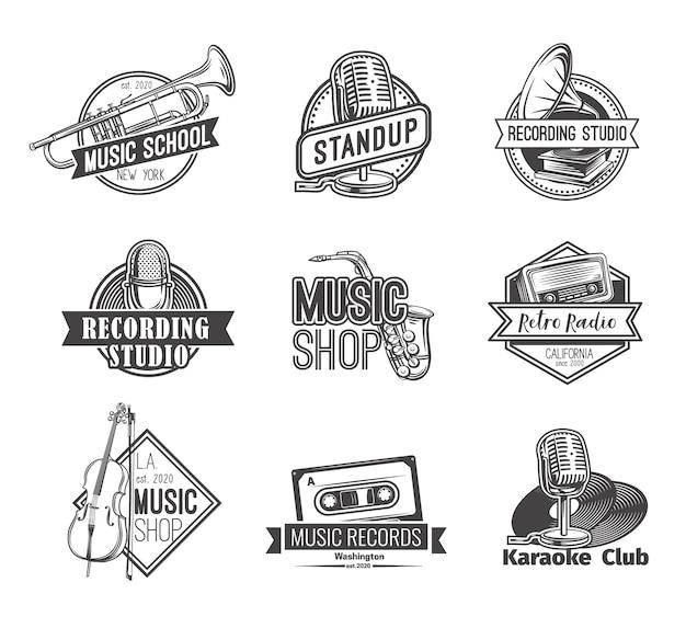 Ретро радио лейбл логотипы студии звукозаписи встают значок и эмблемы музыкального магазина