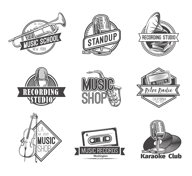 Retro radio label recording studio logos stand up badge and music shop emblems