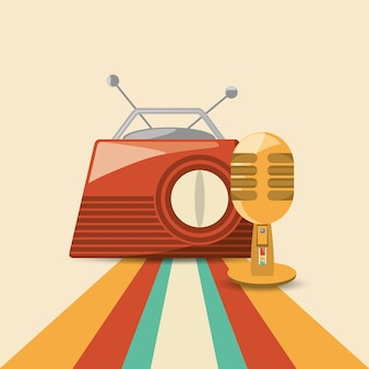 Retro radio and microphone icon over colorful striped background