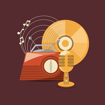Retro radio and microphone with vinyl icon over red background