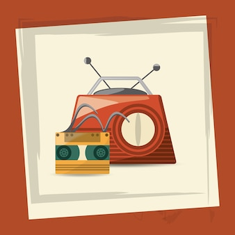 Retro radio and music cassette player icon over white and orange background