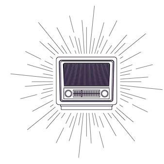 レトロなラジオポスターは、アイコンのデザインを分離