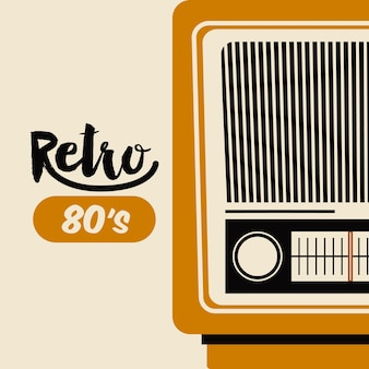 Retro radio  poster isolated icon design