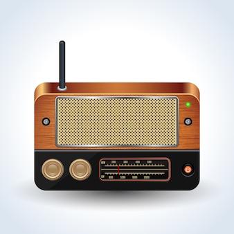 Retro radio receiver realistic vector