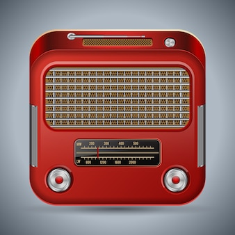 Retro radio receiver square vector icon