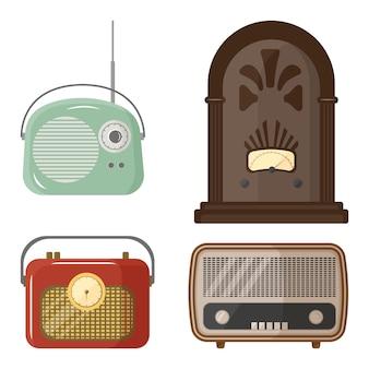 만화 스타일의 레트로 라디오 설정