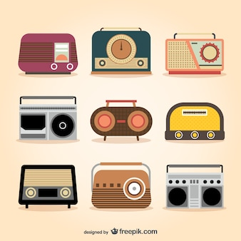Retro radio sets Premium Vector