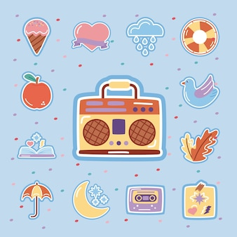 Retro radio with set stickers flat style icons.