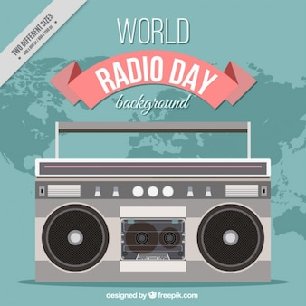 Retro radio world day background in flat design