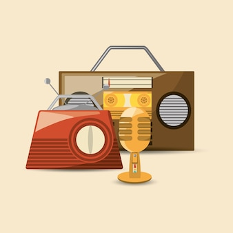 Ретро-радио и значок микрофона
