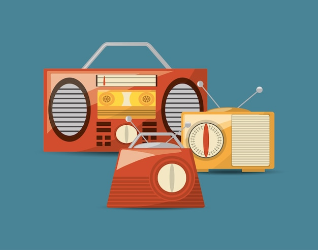 Retro radios and stereo icon over blue background