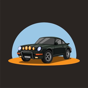 Retro rally car in sand. dark green racing sedan car with night headlight concept in cartoon illustration