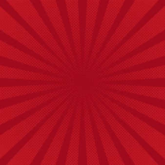 Retro rays red background raster comic gradient halftone pop-art style