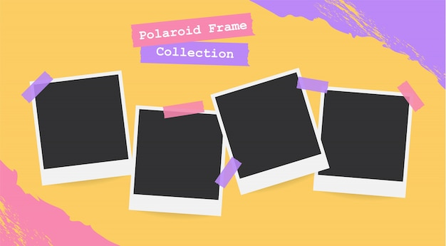 Retro realistic blank instant polaroid photo set