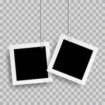 Retro realistic photo frame with paper clip isolated on transparent background